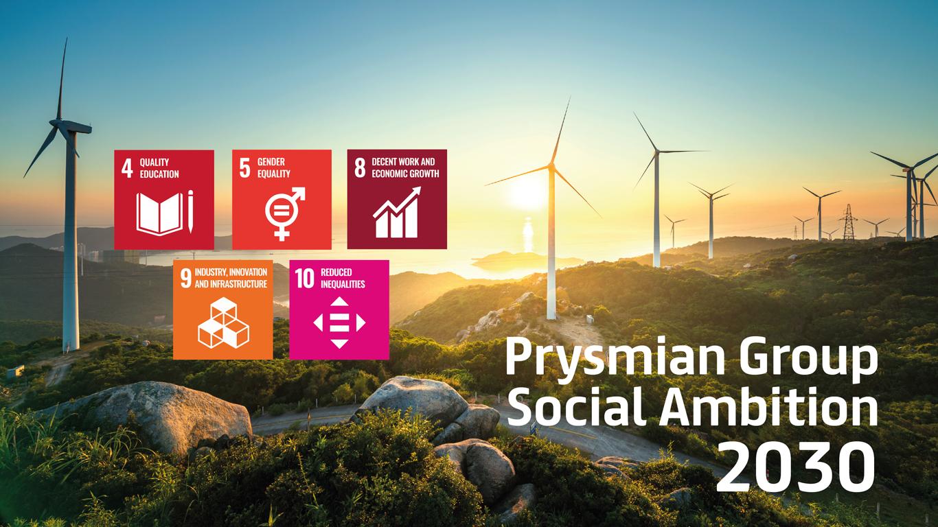 Prysmian Group acelera su compromiso con la sostenibilidad fijando objetivos sociales en línea con sus ambiciones en materia de cambio climático